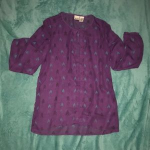 Purple sheer long sleeve shirt